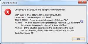 Erreur SQL Developer 0182