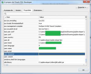 Propriétés SQL Developer