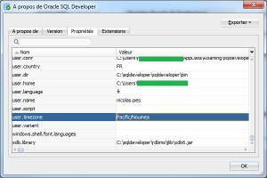 Propriété SQL Developer avec Timezone