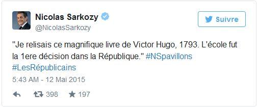 Nicolas Sarkozy tweet 1793 de Victor Hugo