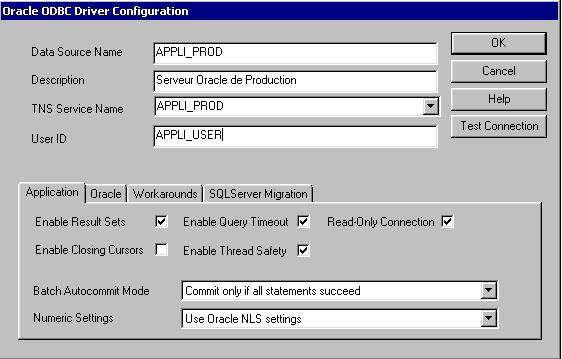 Configuration de la source de données Oracle ODBC
