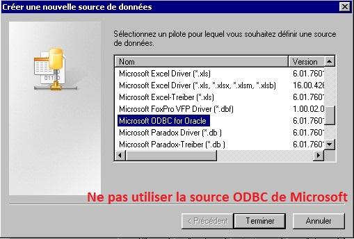 Source de données Oracle ODBC de Microsoft